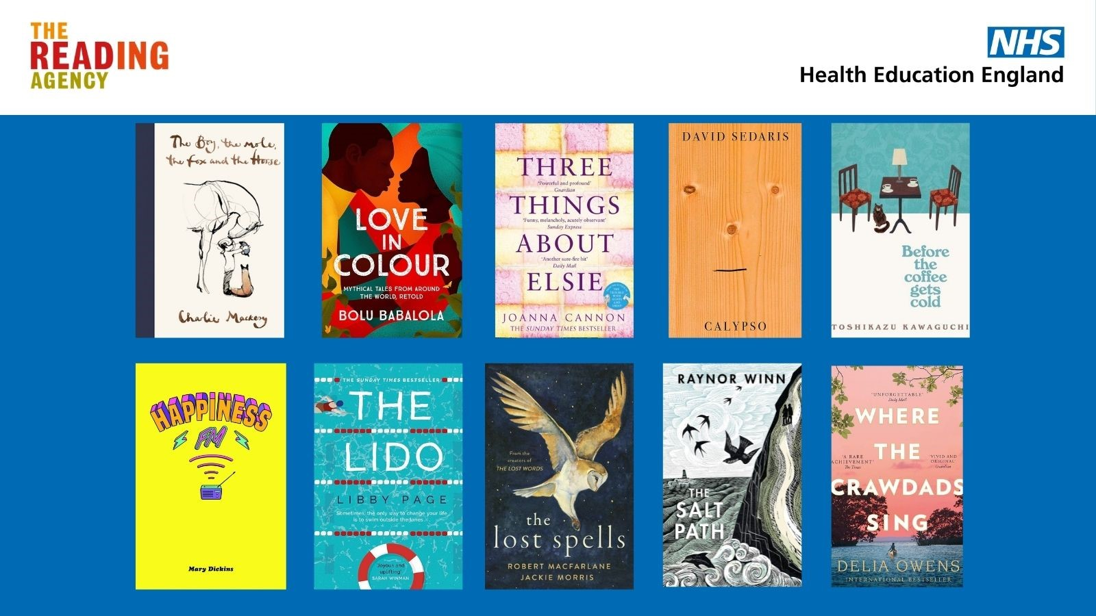 This image shows examples of books from Reading Well: The Uplifting Collection